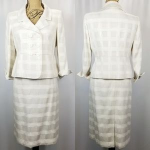 Le Suit Ivory Skirt & Jacket Set Striped/Checked